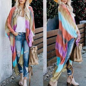 Tie Dye Kimono Kaftan Cardigan